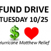 Fund Drive 10/25 to help CCS Families who lost homes in Hurricane Matthew